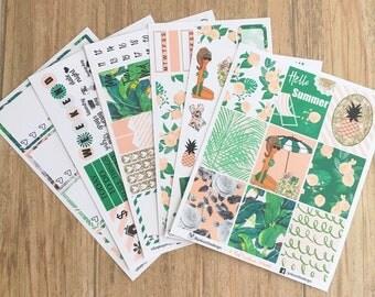 HELLO SUMMER KIT Dark Skin Stickers for your Planner