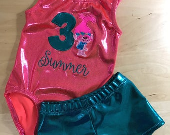 Custom Trolls Gymnastics Leotard and Shorts