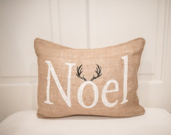 Noel Pillow --Noel Pillow Cover -Christmas Pillow -Holiday Pillow