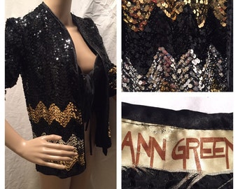 Authentic 70s ANN GREEN black n gold sequin jacket blazer boho luxe gatsby 70s does 20s