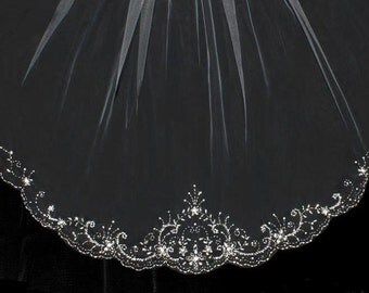 Beautifully Beaded Royal Cathedral, Cathedral or Chapel Length Wedding Veil