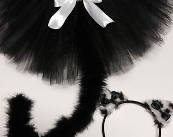 Cat costume, black white cat costume,adult cat costume, baby cat costume, halloween cat costume, black cat tutu, girl cat costume