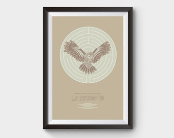 Labyrinth - A3 movie poster art, print, goblin king quote, minimalist movie poster, film poster, Snowy Owl, What Babe?, david bowie, poster