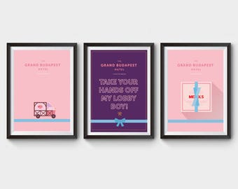 The Grand Budapest Hotel Collection x 3 Prints - movie poster, art, film loster, lobby boy, minimalist movie poster poster, wes anderson