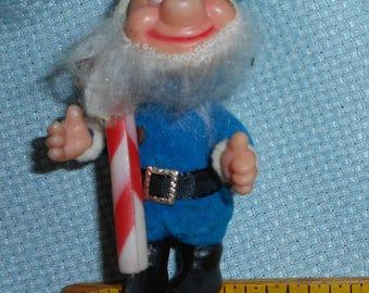 Blue Flocked Elf Vintage Christmas Tree Ornament