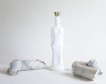 Vintage Milk Glass Avon Bottle Standing Greek Woman Milk Glass Figurine Bath Oil Bottle White Figurine Greek Woman Figurine Vintage Avon