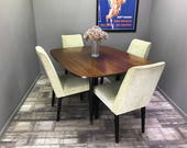 Retro G Plan Dining Table and Chairs  Vintage Upholstered Gate Leg Drop Leaf