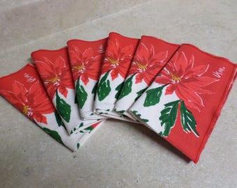 6 VERA Christmas Napkins Poinsettia Design