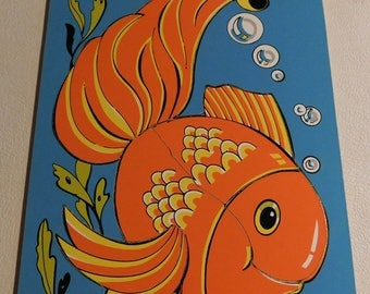 Vintage Wooden Child's Frame Tray Puzzle Fish Connor #8405-5