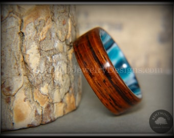 """Bentwood """"Surf's Up"""" Cocobolo Ring with Acrylic Marbled Core Handcrafted Durable and Unique"""