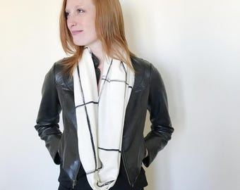 White and Black Scarf-Infinity Scarf-Silk Scarf-Scarves for Winter-Scarves for Fall-Silk Scarves-Scarves-Fall Scarf-Fall Scarves-Windowpane