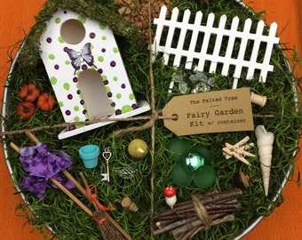Fairy garden kit with container DIY, Green & Purple polka dot, butterfly pin fairy house, galvanized outdoor container