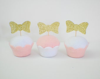 Bow tie cupcake toppers, bow cupcake toppers (12 toppers)