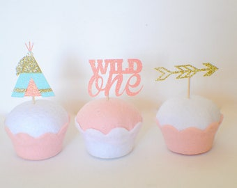 Wild one Cupcake topper, Wild one party, boho cupcake topper, boho party
