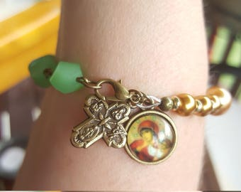 Vintage looking Rosary decade bracelet with vintage charms