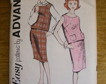 "Vintage Advance Sewing Pattern 2785 Junior Size 10 Bust 29"" Blouse / Overblouse / Skirt"