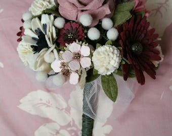 Beautiful felt flower bridal bouquet ... handmade to order