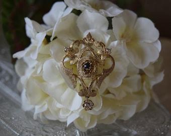 Vintage Les Bernard Sterling Silver Vermeil Rhinestone Brooch Pin,  Vintage Saphire & Diamond Rhinestones, Vintage Wedding Brooch