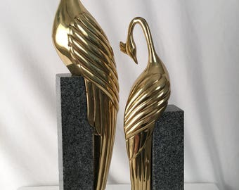 Superb Brass Birds On Marble Bases By Dolbi Cashier 1985