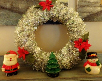 Vintage Tinsel Wreath and Character Candles