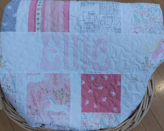 Unicorns, Fairies and Mermaids Baby Girl Patchwork Quilt, Modern Baby Girl Quilt, Pink and Gold Glam Nursery, Personalized Baby Blanket