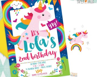 5 X Personalised UNICORN RAINBOW Birthday Party Invitation Invites Stationary
