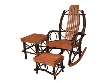Hickory & Oak Amish Bentwood Rocker 3 Piece Set