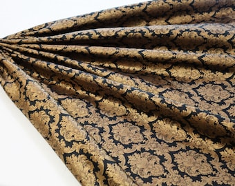 black art silk brocade with dull gold fabric