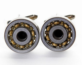 Unique Engineers Spinning 18mm bearings Steampunk Cufflinks Brand New