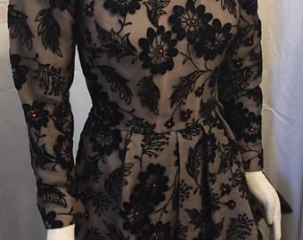 Vintage Scaasi Boutique Women's Evening Dress Black Illusion Flocked Boned Bodice Formal Just Spectacular Small 34-26-38!