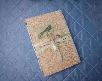 Vintage Bird Journal | Powder Pink Damascus Art Journal | Handmade Junk Journal