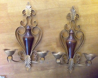 Hollywood Regency, Sconce, Elegant Regal, candle holder, wall hanging,metal sconce
