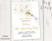 5th Anniversary invitations template - Printable Gold Champagne 5 five Word invitation templates - edit & print today - Instant Download