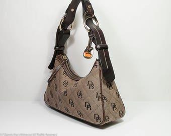 Dooney fabric purse, Dooney & Bourke hobo bag, bridle leather handle, Dooney shoulder bag, medium size Dooney zip top purse, leather trim