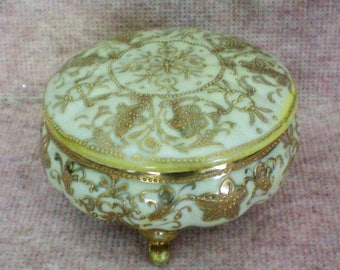 Nippon Hand Painted Gilded Dresser or Trinket Box - 5325