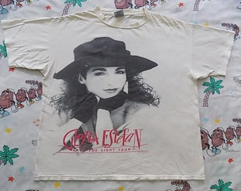 Vintage 90's Gloria Estefan Into The Light Tour T shirt, size Large 1991 oversized concert tee double sided