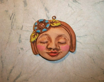 """Polymer clay One of a kind Face Pendant,Charm,1 1/2"""" wide by 1 3/8"""" tall,handmade supply,blue flower,sweet face,happy,large focal bead"""