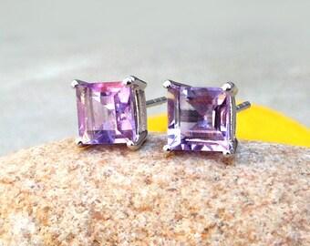 Amethyst Square Stud Amethyst Earrings Sterling silver Amethyst Earrings Purple Stud Earrings Purple Gemstone Birthstone stud earrings