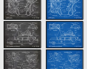 A4 Framed Ghostbusters Inspired Blueprints Patents - Ecto 1/Proton Pack/PKE Meter/Trap
