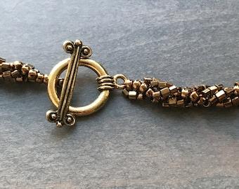 Spiral necklace, Spiral rope, Spiral stitch, Gold, Seed beads