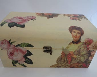 Shabby Chic decoupage wooden treasure chest box, to store those treasured keepsakes.