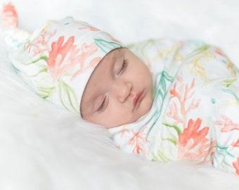 Coral Reef Blanket, Swaddle Blanket and Beanie, Swaddle Set, Baby Blanket Set, Organic Baby Blanket, Newborn Photo Prop, Newborn Blanket Set