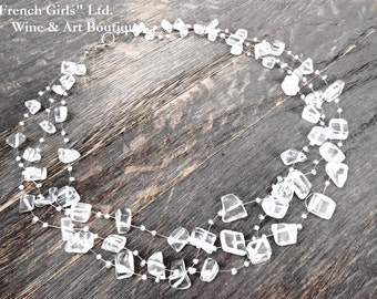 Clear Quartz Raw Gemstone Floating Multistrand Statement Necklace,  Rock Crystal Invisible Crochet necklace, Healing Stone Necklace