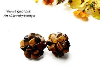 Tigers eye Clip on Earrings Raw Gemstone Flower Shaped Floral Brown Yellow Boho Bohemian Jewelry Tiger eye Clipon Vintage Chic Cut Rough