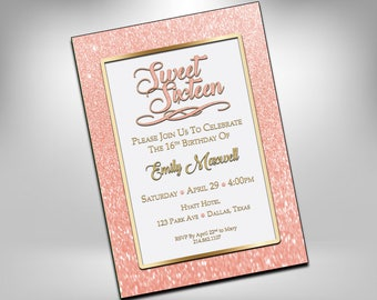 Sweet 16, Birthday Invitations, Sweet Sixteen Invites, 16th Birthday, Rose Gold, Glitter Invite, Printable, Sweet 16 Invite,