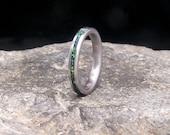 Crushed Lab Opal Inlay Titanium Slimline Stacking Wedding Band or Unique Gift Ring