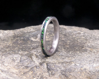 Crushed Lab Opal Inlay Titanium Slimline Stacking Ring