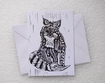 Card Lino Print / Fox A6