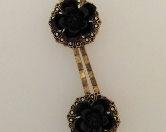 Dark Blossom Hair Pins - Pair of Bobby Pins with Filigree and Black Cherry Blossom