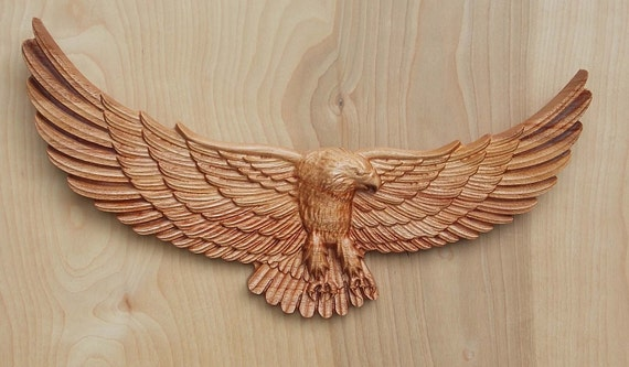 Wood wall art american bald eagle carving hanging
